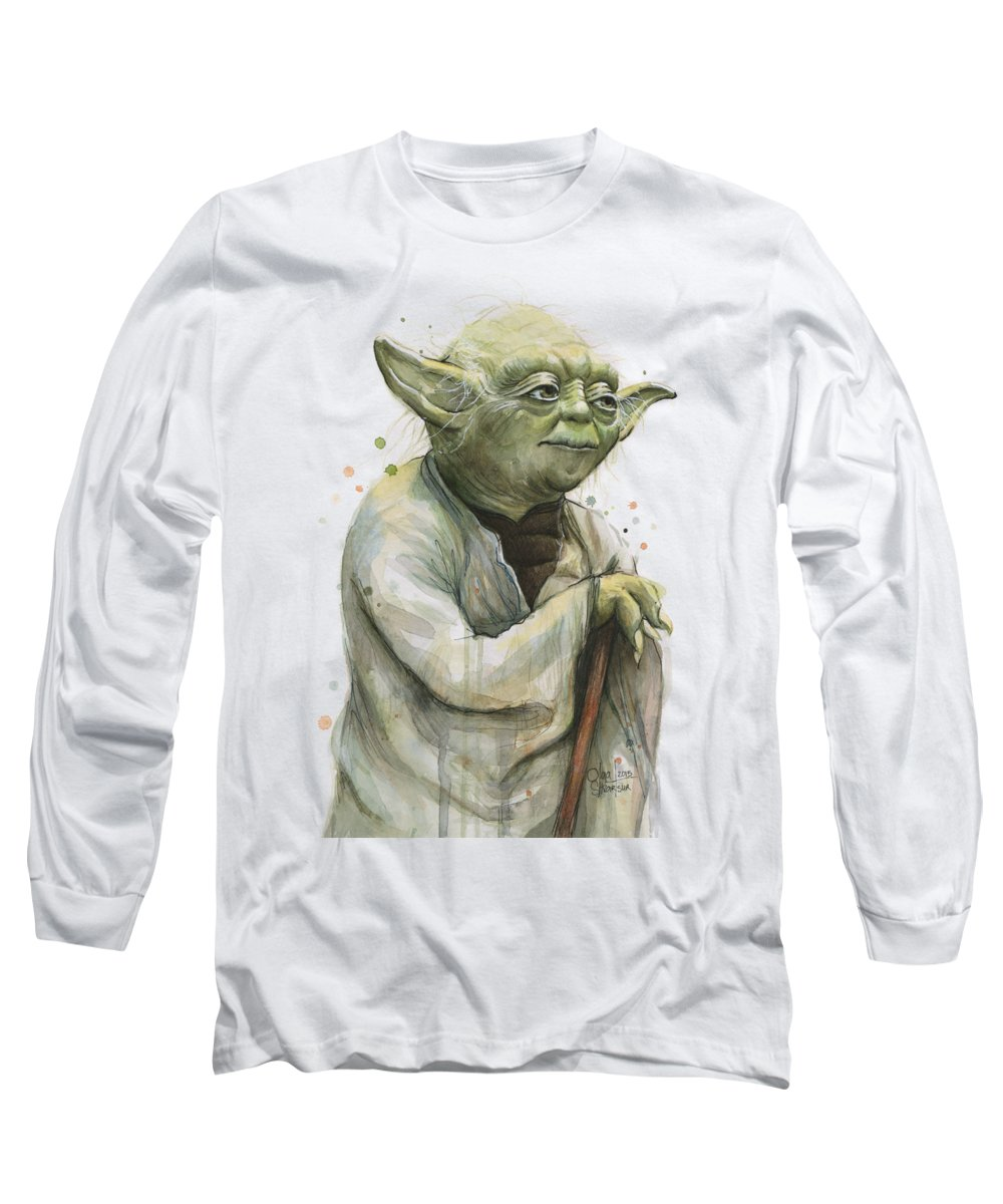 Yoda Long Sleeve T-Shirt featuring the painting Yoda Portrait by Olga Shvartsur