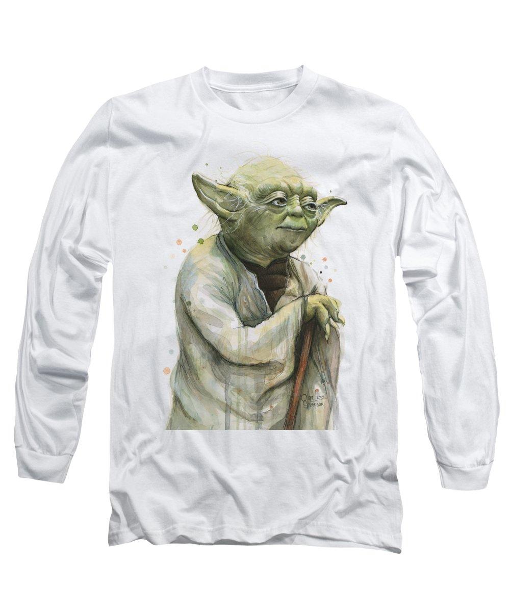 Yoda Long Sleeve T-Shirt featuring the painting Yoda Watercolor by Olga Shvartsur