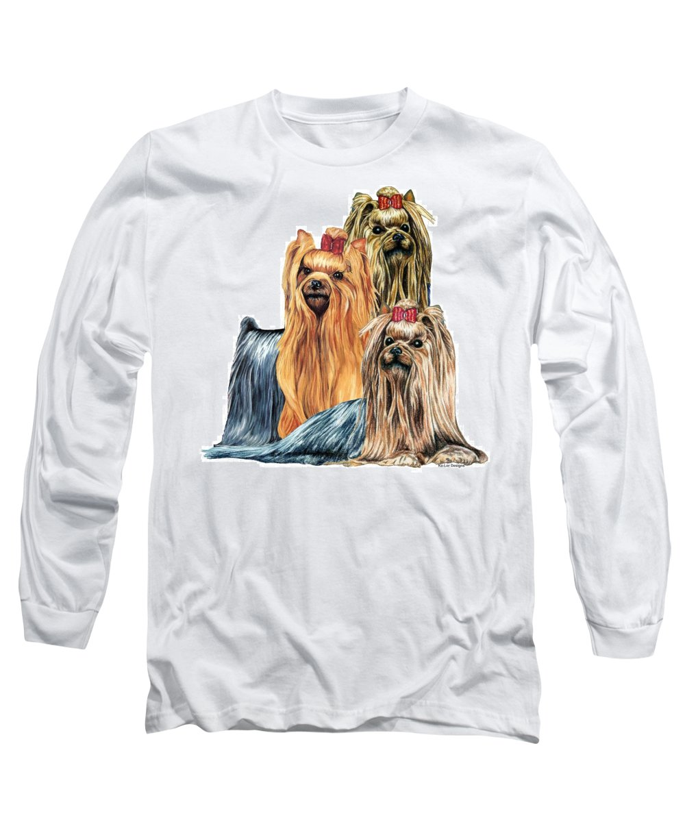 Yorkshire Terrier Long Sleeve T-Shirt featuring the drawing Yorkshire Terriers by Kathleen Sepulveda