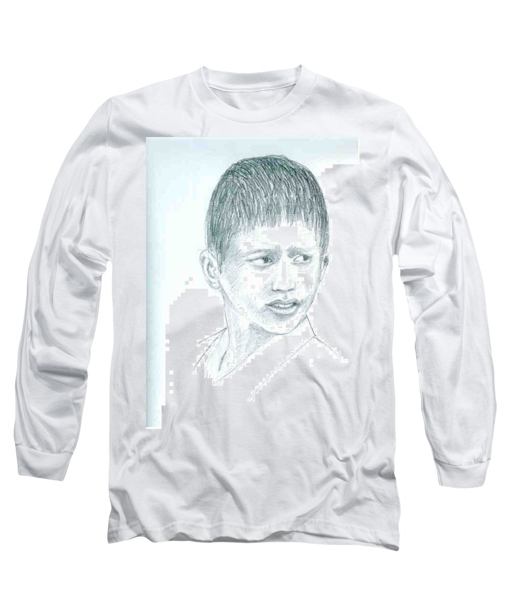 Long Sleeve T-Shirt featuring the drawing Young Boy by Asha Sudhaker Shenoy