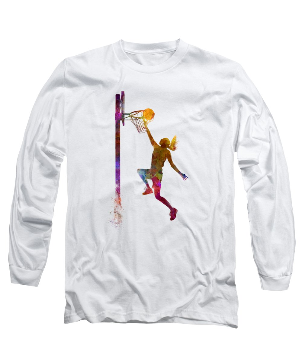 Young Woman Basketball Player In Watercolor Long Sleeve T-Shirt featuring the painting Young Woman Basketball Player 04 In Watercolor by Pablo Romero
