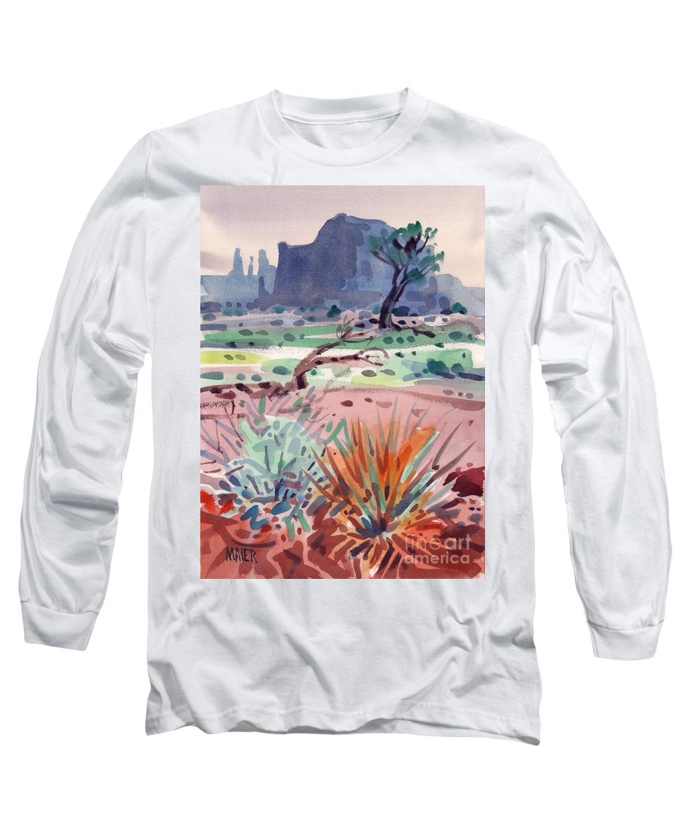 Monument Valley Long Sleeve T-Shirt featuring the painting Yucca And Buttes by Donald Maier