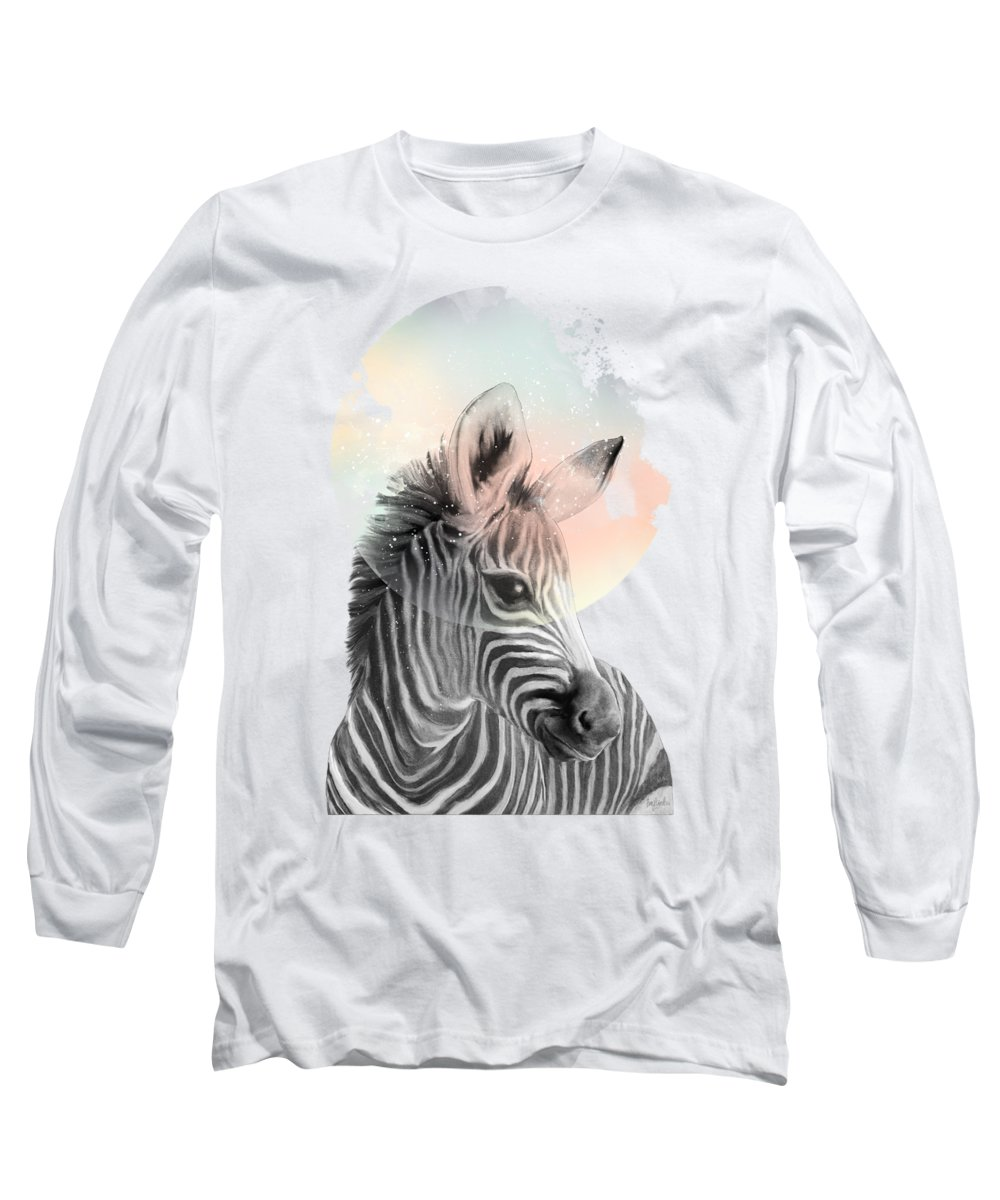 Zebra Long Sleeve T-Shirt featuring the painting Zebra // Dreaming by Amy Hamilton