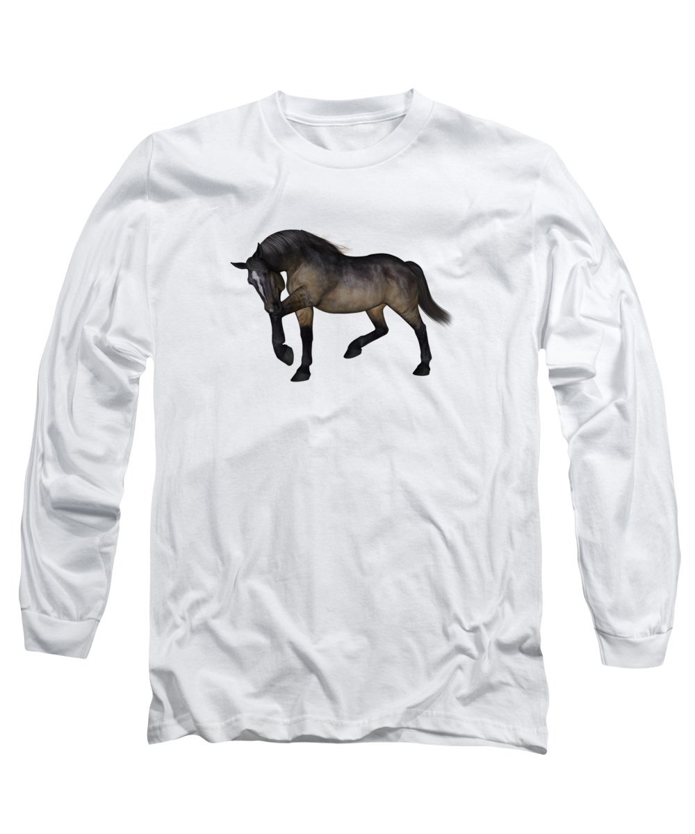 Horse Long Sleeve T-Shirt featuring the digital art Zephyr by Betsy Knapp