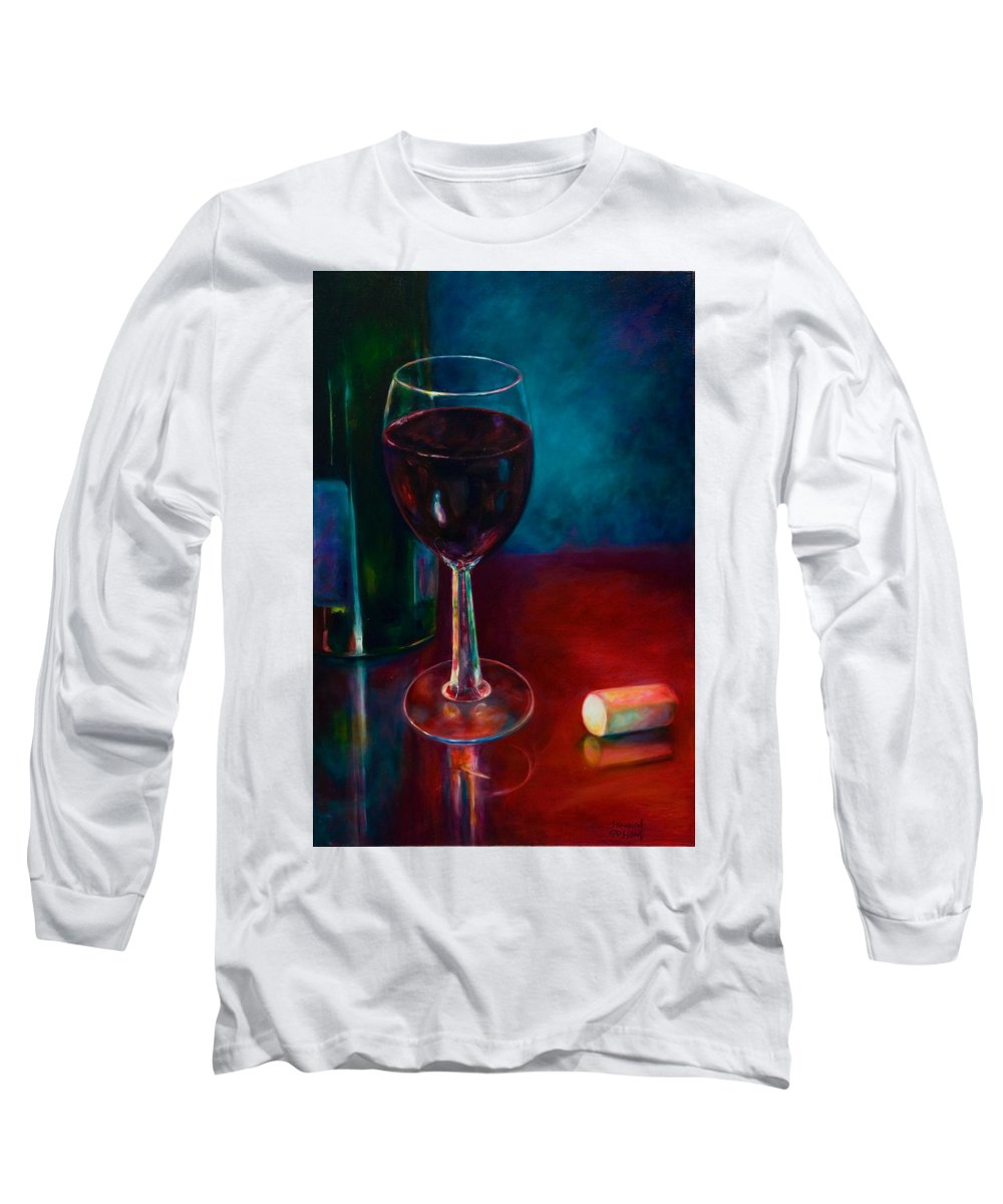 Wine Bottle Long Sleeve T-Shirt featuring the painting Zinfandel by Shannon Grissom