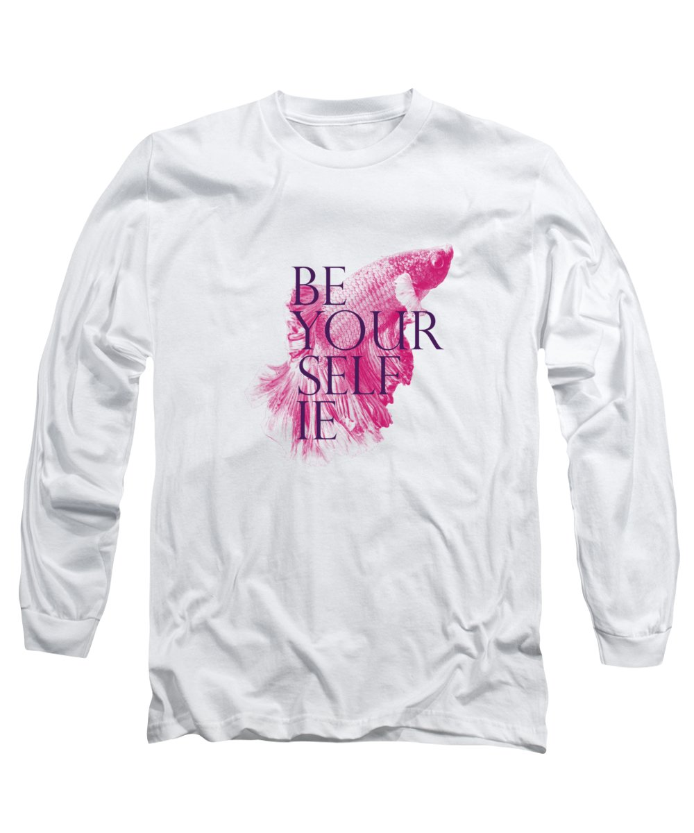 Koi-fish Long Sleeve T-Shirt featuring the digital art Koi Fish Be Yourselfie by Passion Loft