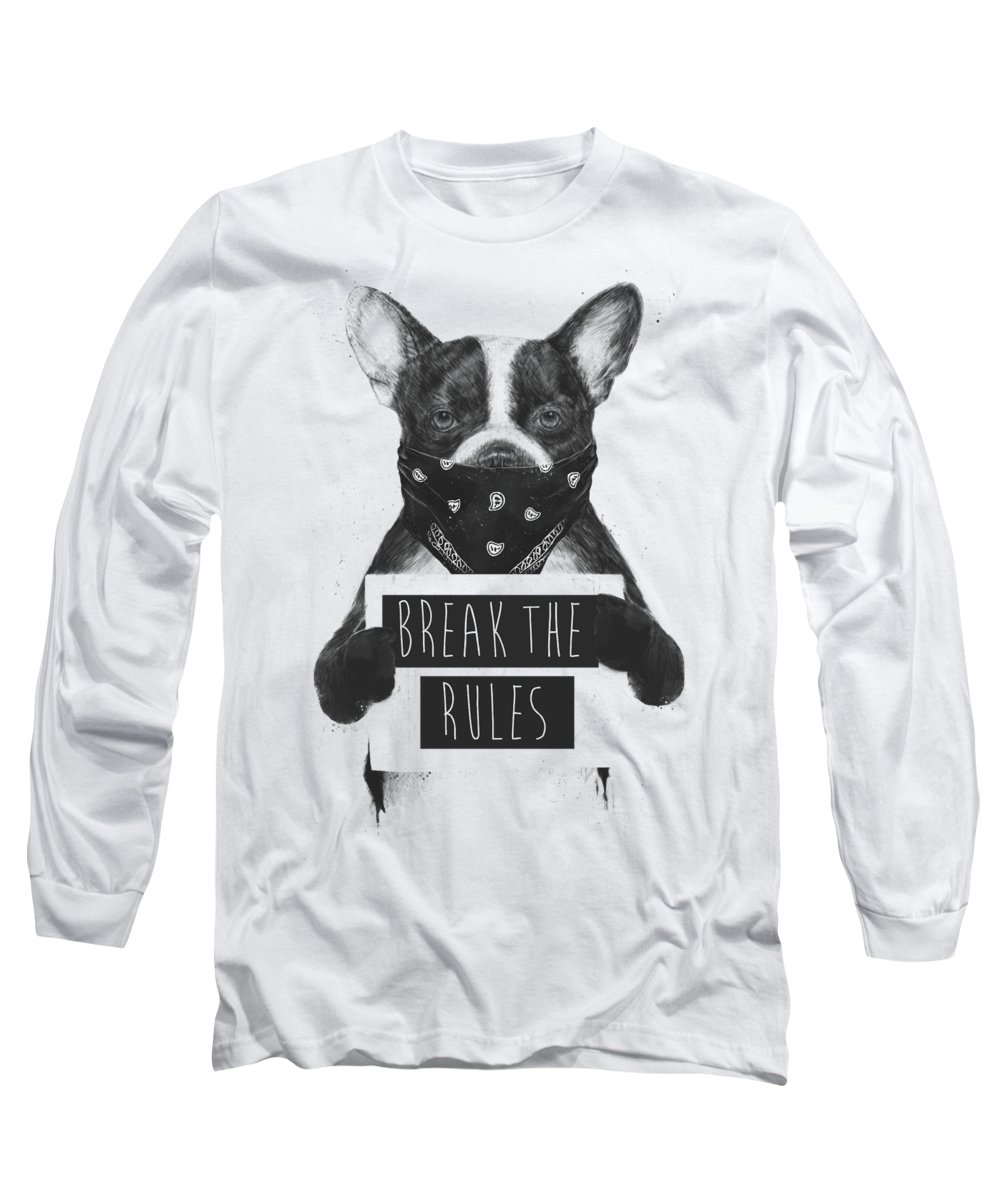 Dog Long Sleeve T-Shirt featuring the mixed media Rebel dog II by Balazs Solti