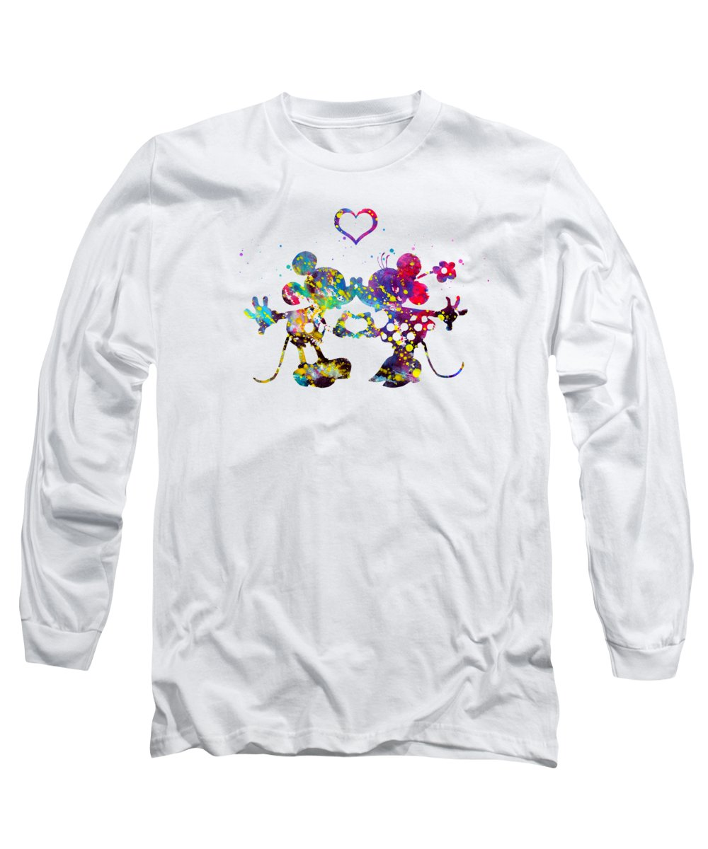Mickey And Minnie Mouse In Love Long Sleeve T-Shirt featuring the digital art Mickey And Minnie Mouse In Love by Erzebet S