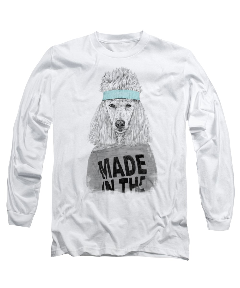 Dog Long Sleeve T-Shirt featuring the drawing 80's Bitch by Balazs Solti