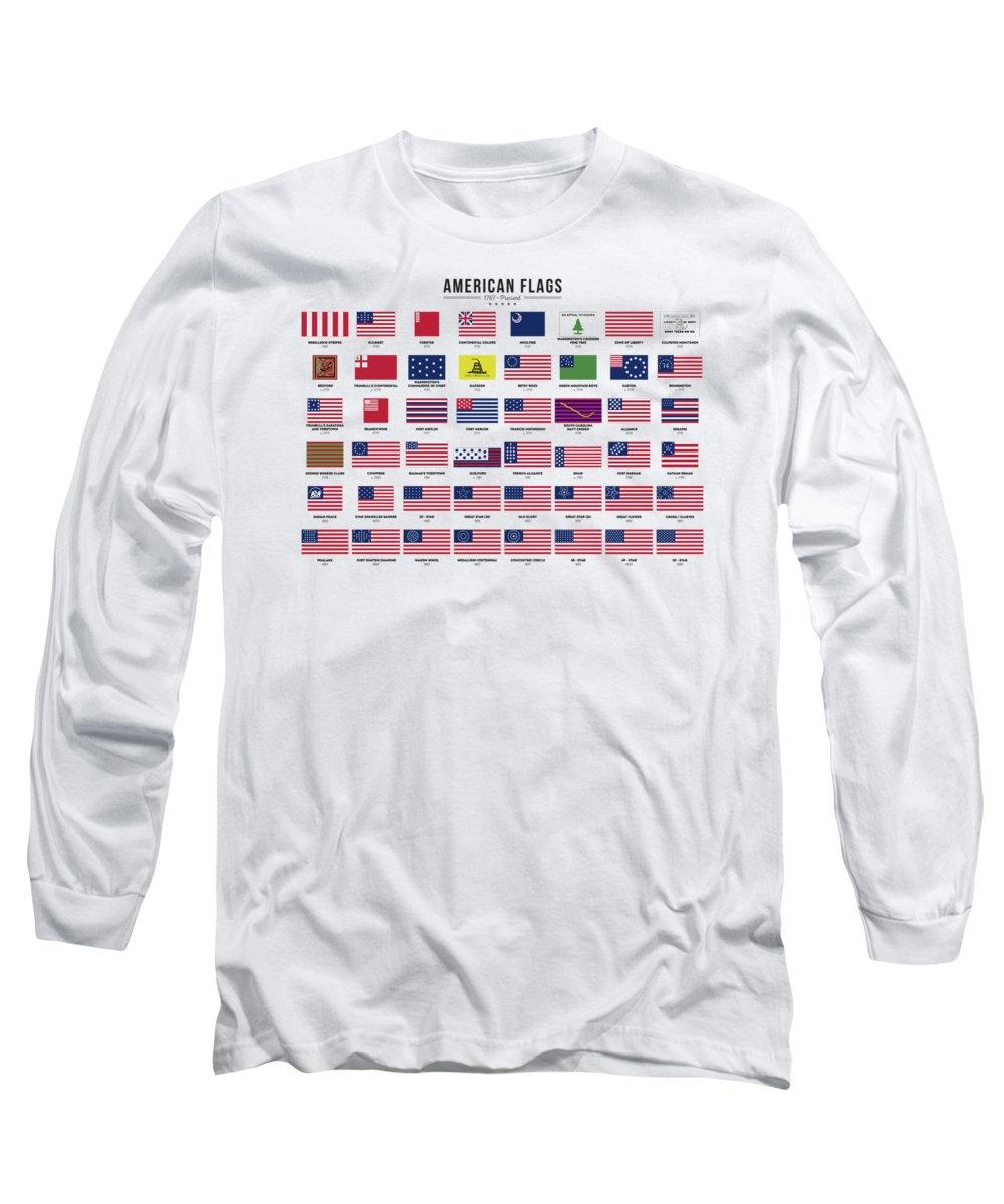 American Long Sleeve T-Shirt featuring the digital art American Flags by Zapista Zapista