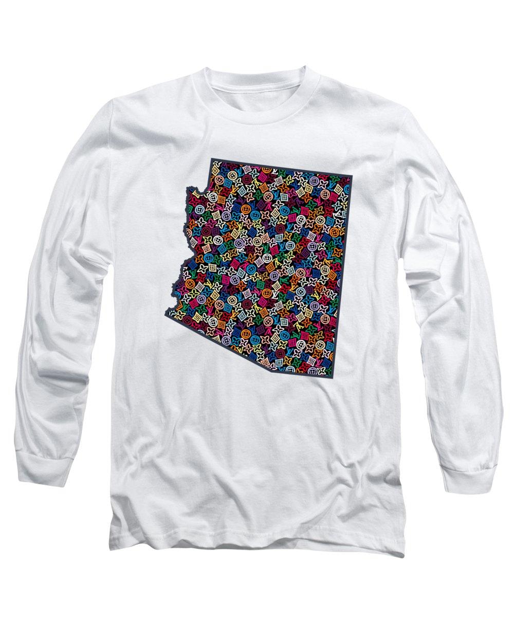 Phoenix Long Sleeve T-Shirt featuring the painting Arizona Map - 1 by Nikita