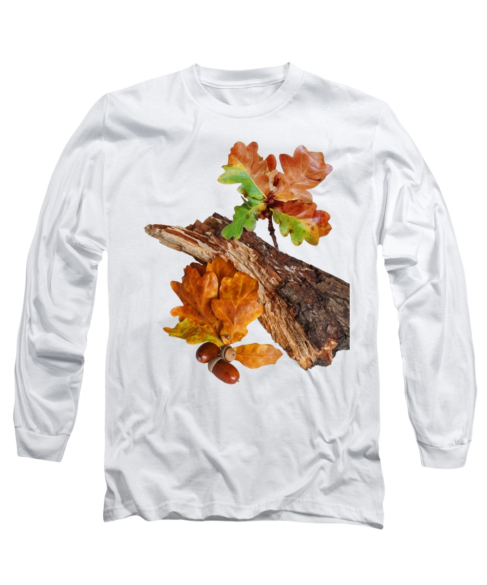Autumn Leaves Long Sleeve T-Shirt featuring the photograph Autumn Oak Leaves And Acorns On White by Gill Billington