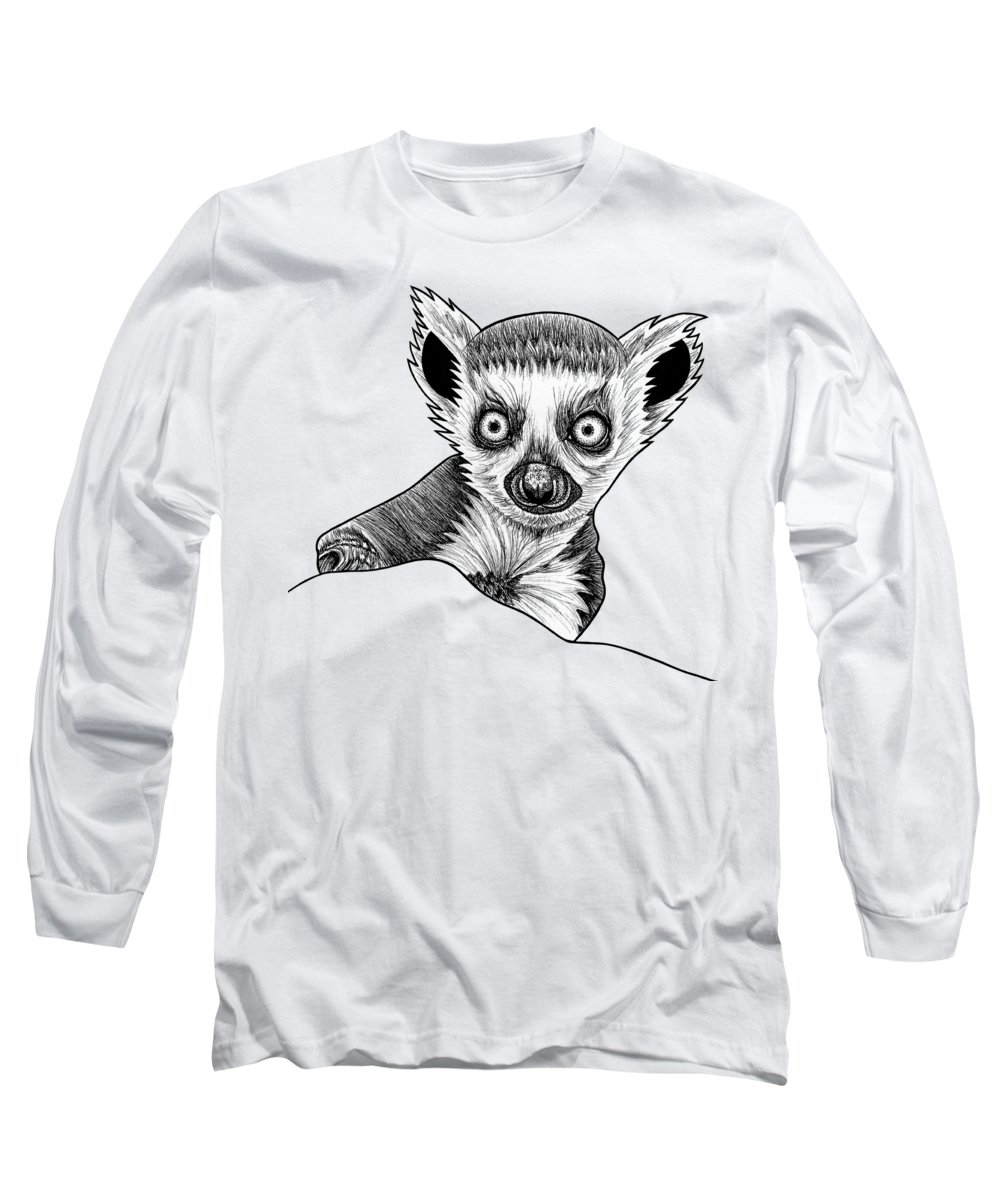 Lemur Long Sleeve T-Shirt featuring the drawing Baby Ring Tailed Lemur - Ink Illustration by Loren Dowding