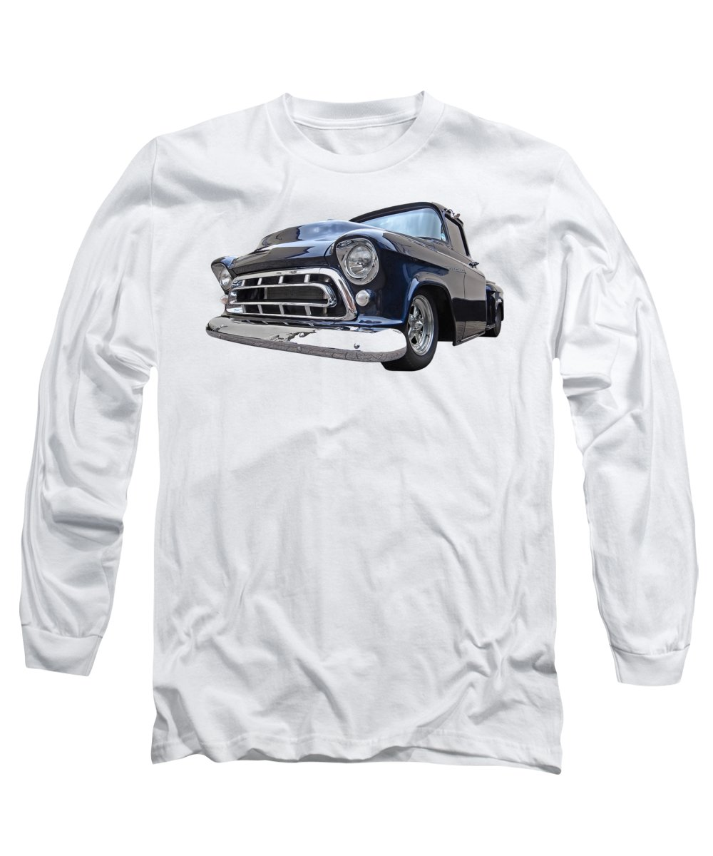 Chevrolet Truck Long Sleeve T-Shirt featuring the photograph Blue 57 Stepside Chevy by Gill Billington