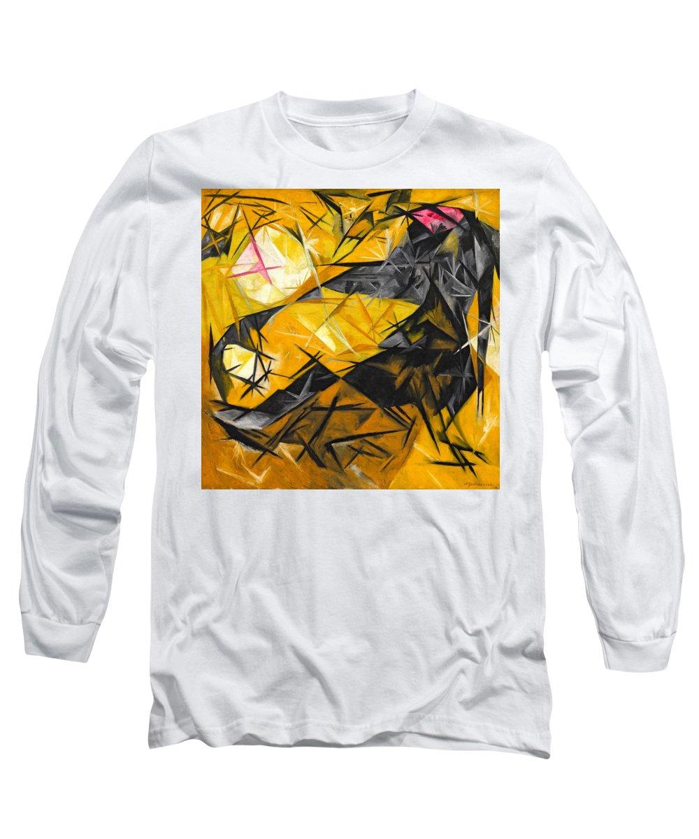 Natalia Goncharova Long Sleeve T-Shirt featuring the painting Cats by Natalia Goncharova