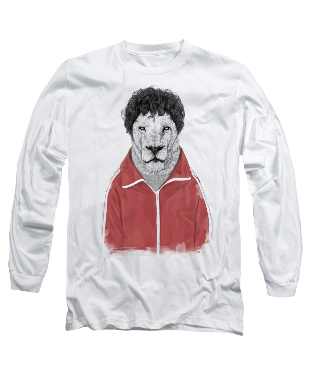 Lion Long Sleeve T-Shirt featuring the drawing Chas by Balazs Solti