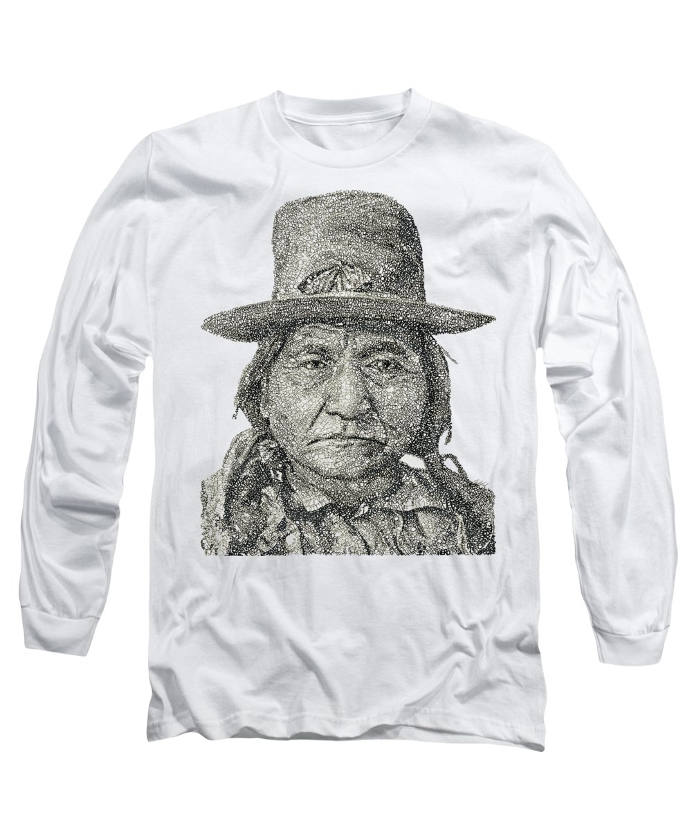 Sioux Long Sleeve T-Shirt featuring the drawing Chief Sitting Bull by Michael Volpicelli