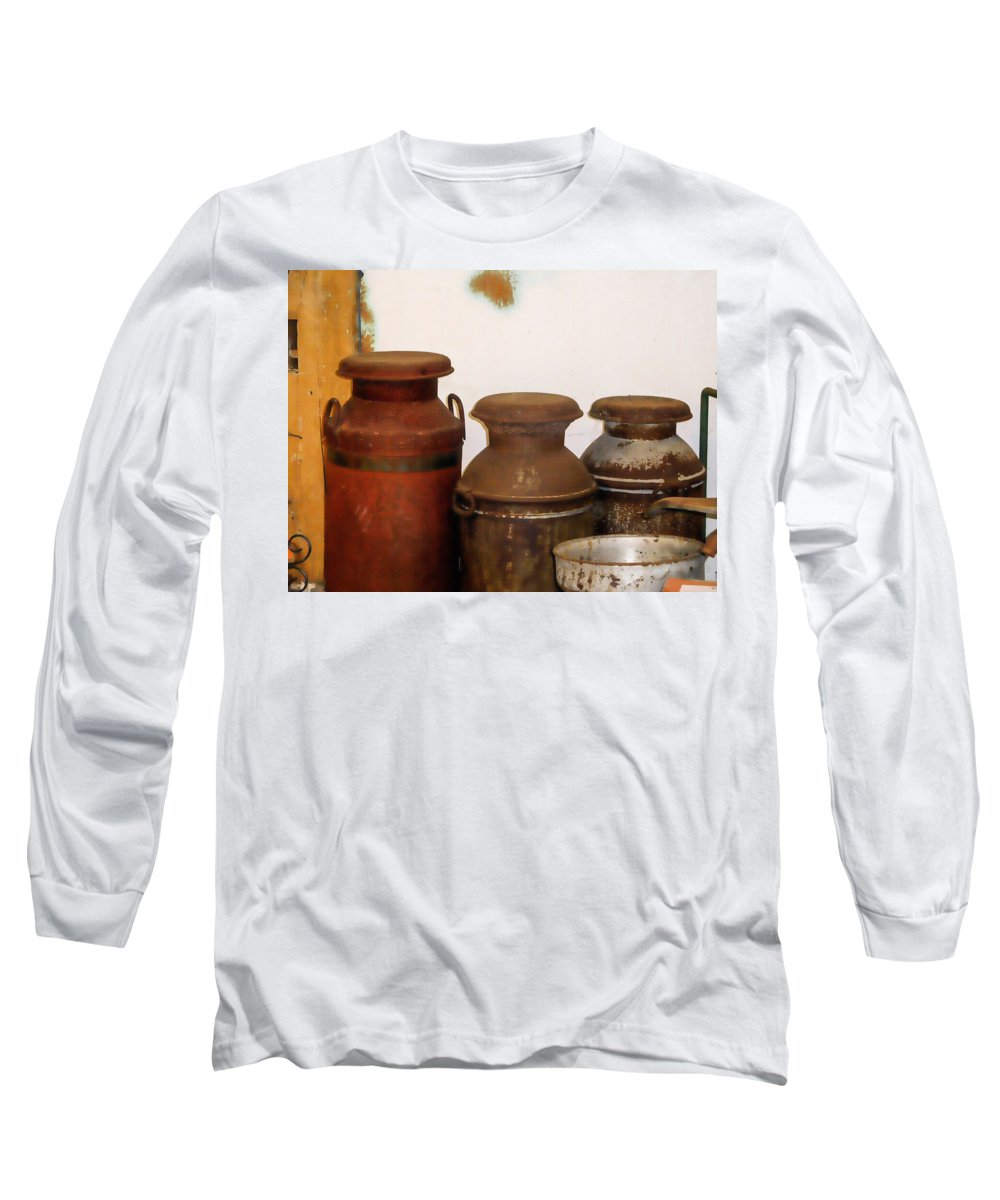 Churns For Milk Long Sleeve T-Shirt featuring the painting Churns For Milk 2 by Jeelan Clark