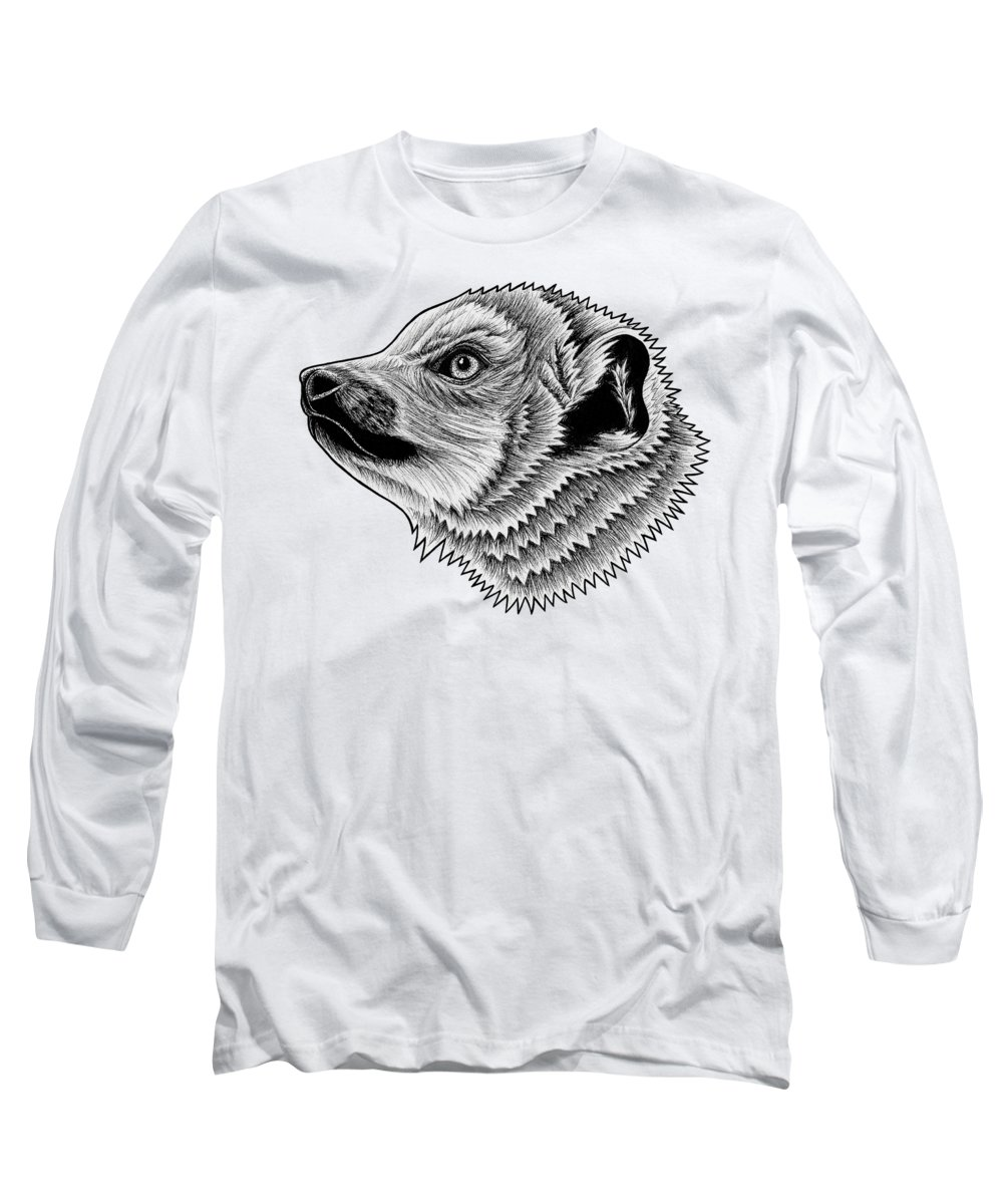 Lemur Long Sleeve T-Shirt featuring the drawing Crowned Lemur by Loren Dowding