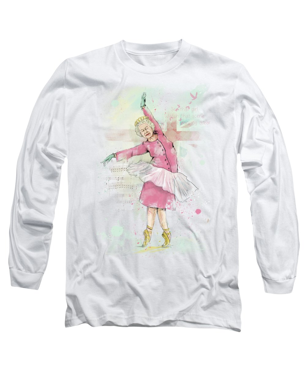 Queen Long Sleeve T-Shirt featuring the mixed media Dancing queen by Balazs Solti