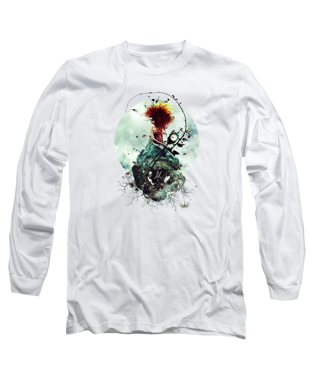Crazy Long Sleeve T-Shirt featuring the digital art Delirium by Mario Sanchez Nevado