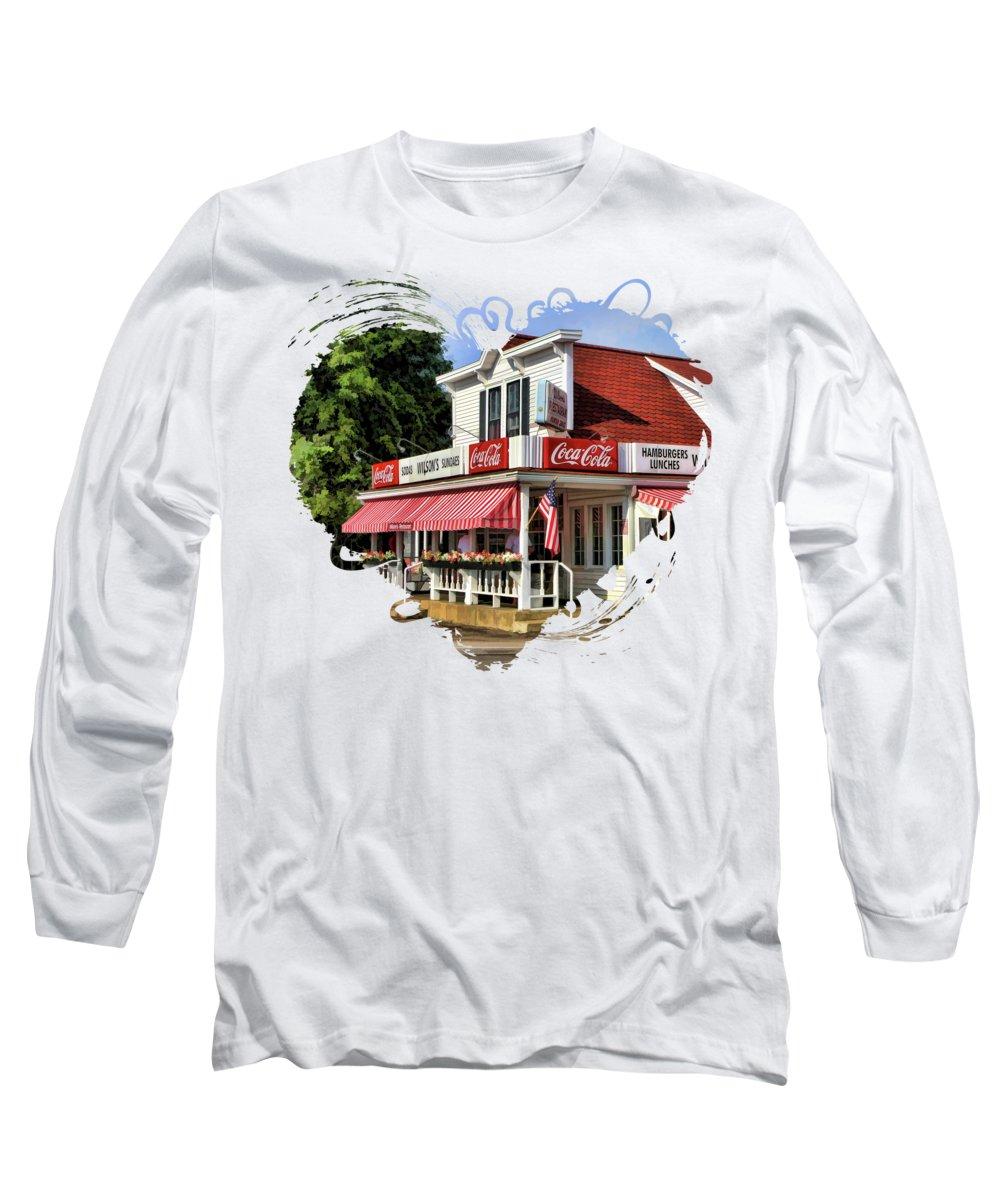 Door County Long Sleeve T-Shirt featuring the painting Door County Wilson's Ice Cream Store by Christopher Arndt