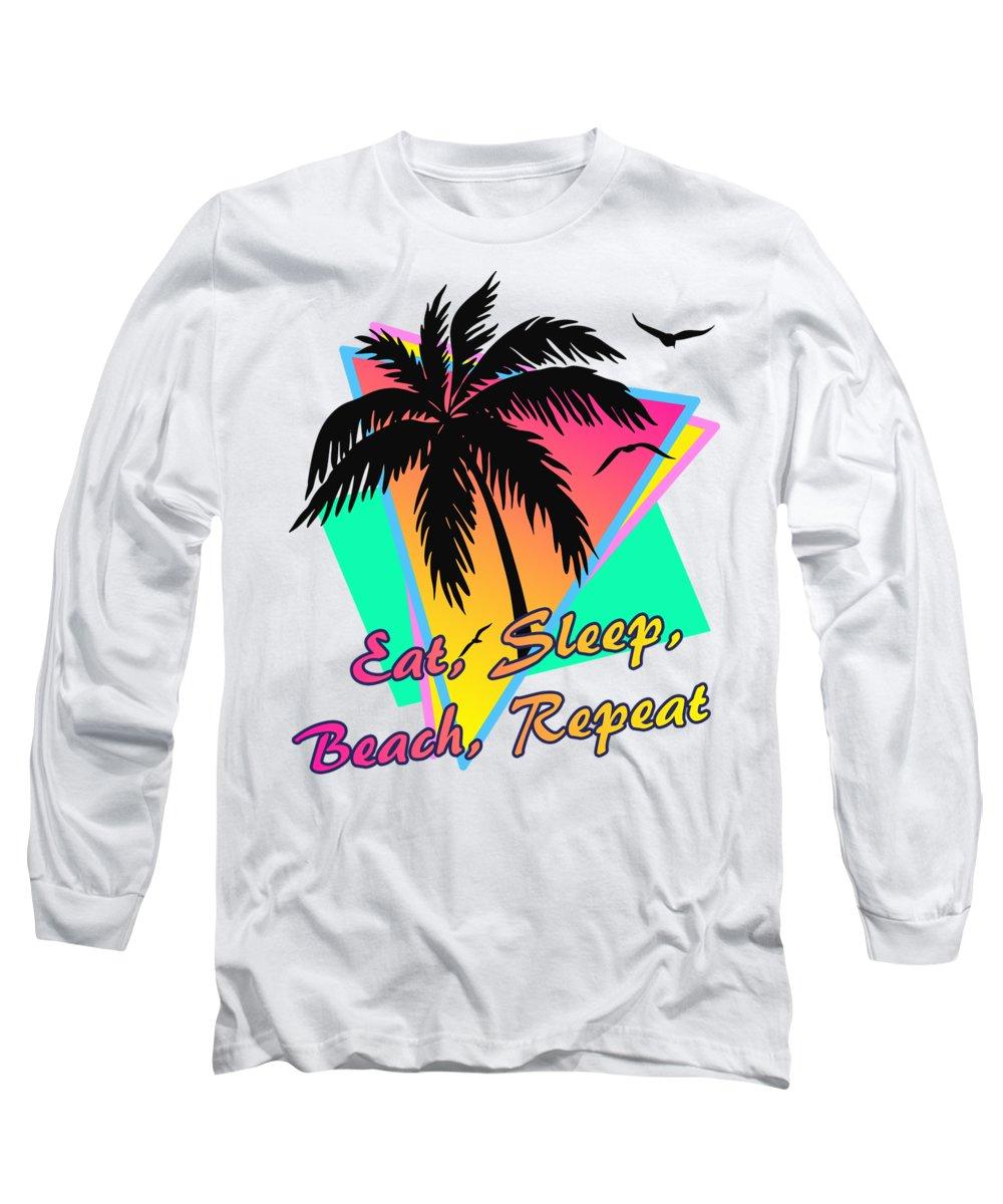 Eat Long Sleeve T-Shirt featuring the digital art Eat Sleep Beach Repeat by Filip Hellman