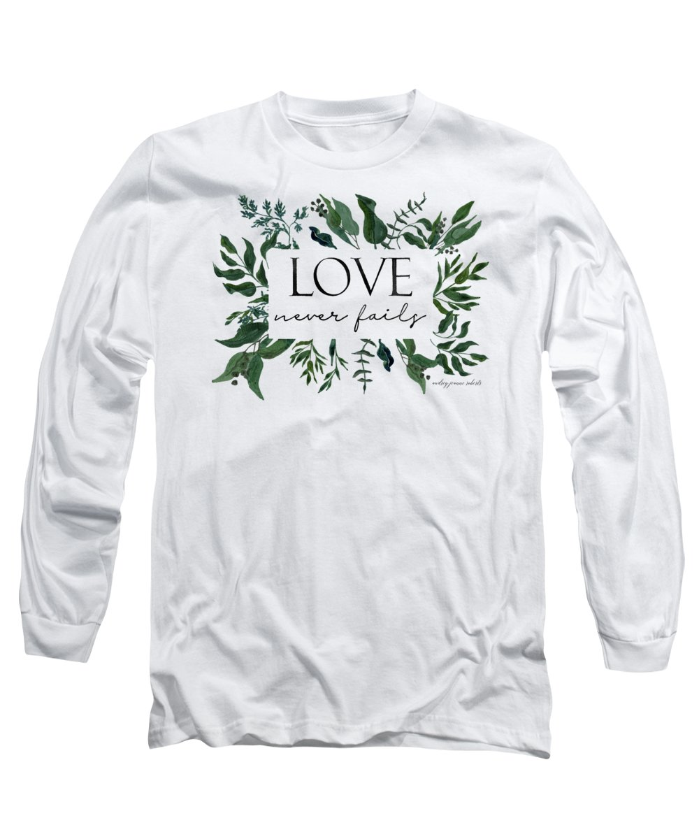 Forest Long Sleeve T-Shirt featuring the painting Emerald Wild Forest Foliage 2 Watercolor by Audrey Jeanne Roberts