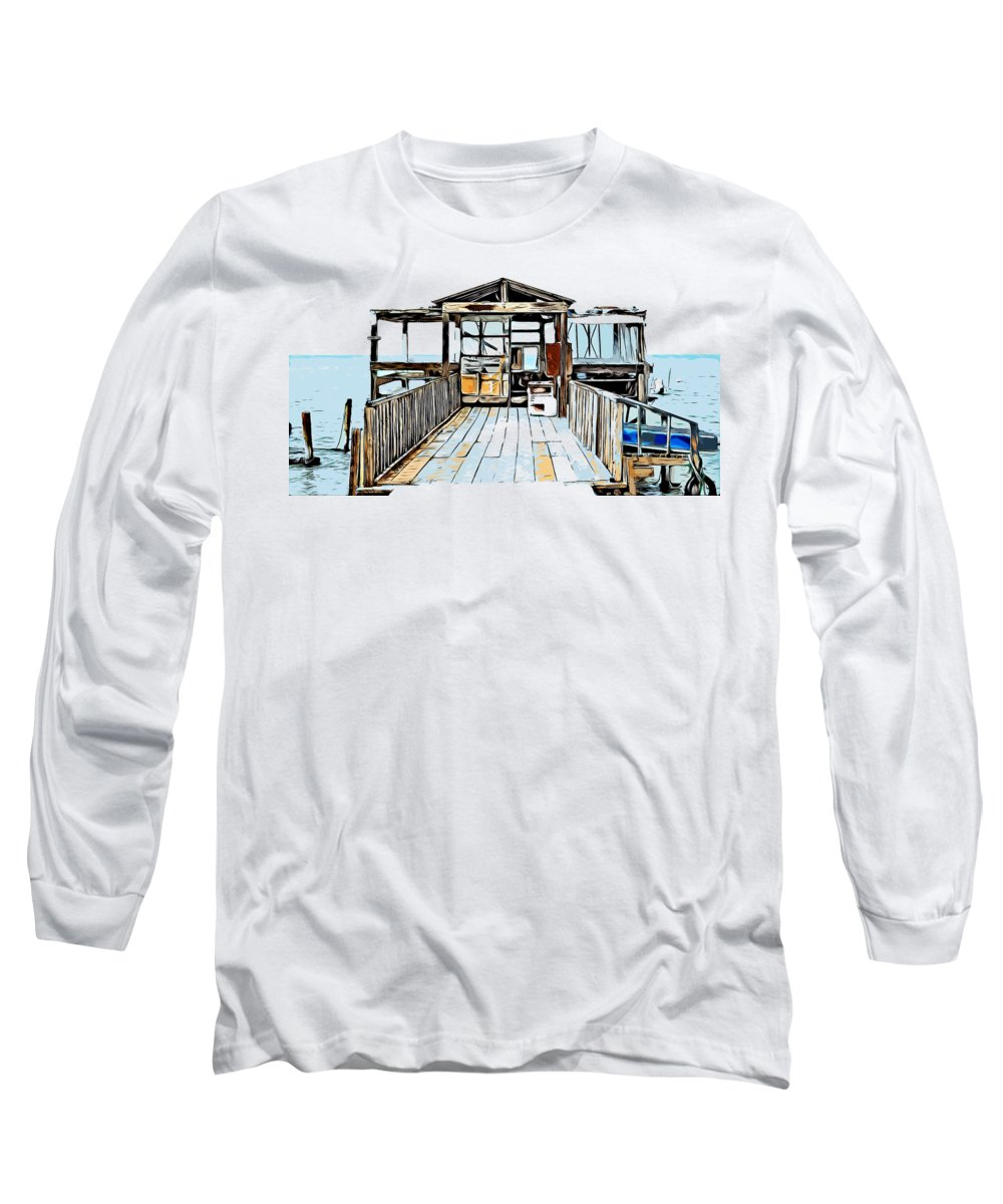 Fisherman's Long Sleeve T-Shirt featuring the drawing Fisherman's Hut Inside The Sea, Drawing by Hasan Ahmed