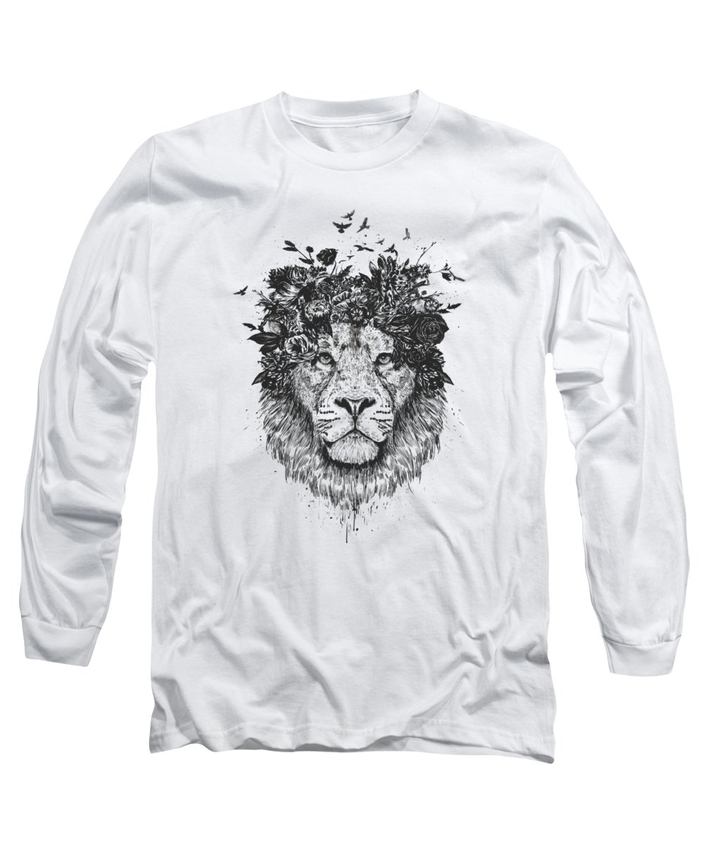 Lion Long Sleeve T-Shirt featuring the drawing Floral lion by Balazs Solti