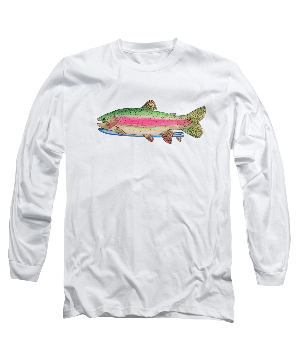 Trout Long Sleeve T-Shirt featuring the painting Rainbow Trout On A Fish by Tate MacDowell