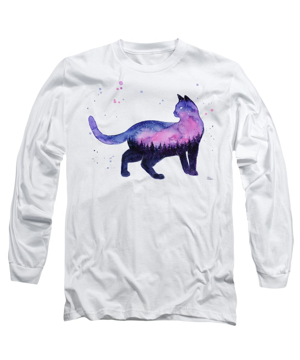 Nebula Long Sleeve T-Shirt featuring the painting Galaxy Forest Cat by Olga Shvartsur