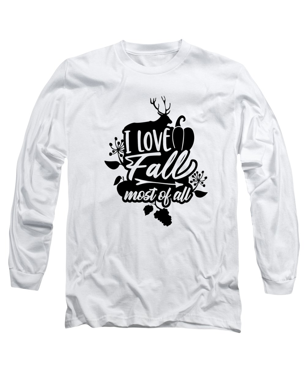 Autumn Season Long Sleeve T-Shirt featuring the digital art I Love Fall Most Of All Deer Pumpkin by Passion Loft