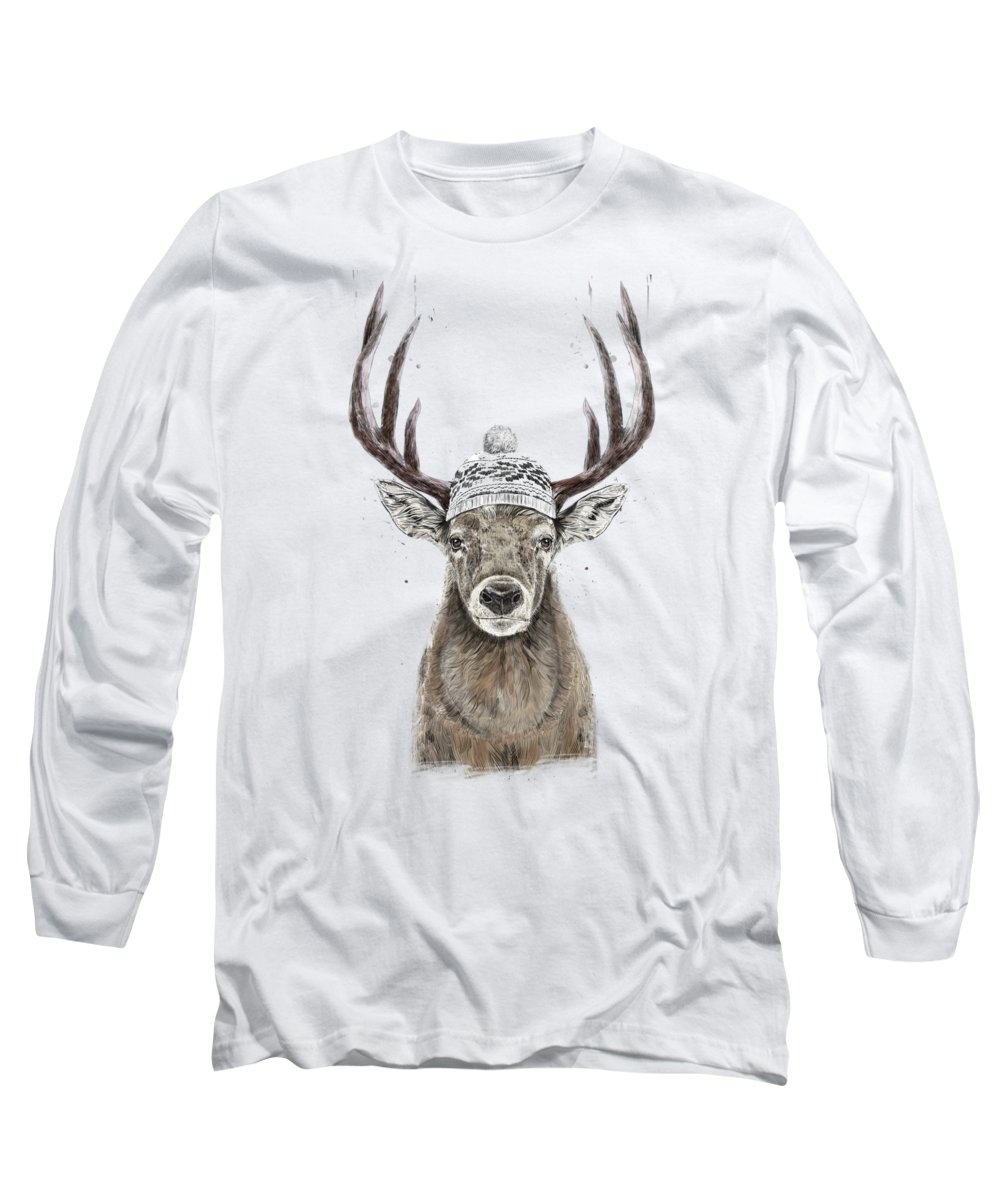 Deer Long Sleeve T-Shirt featuring the mixed media Let's go outside by Balazs Solti