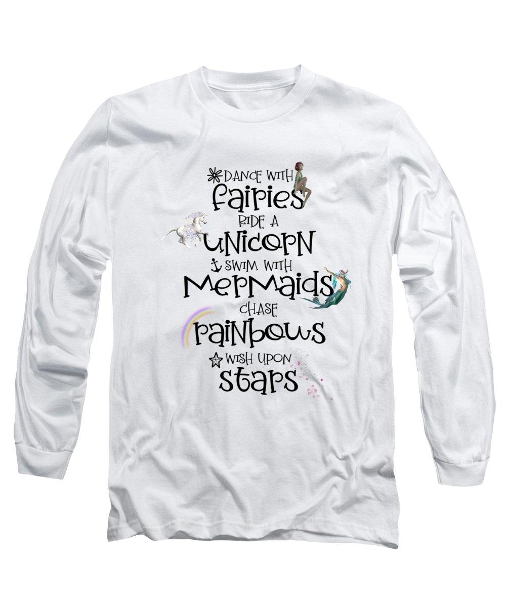 Amanda Lakey Long Sleeve T-Shirt featuring the mixed media Magical Vibes by Amanda Lakey