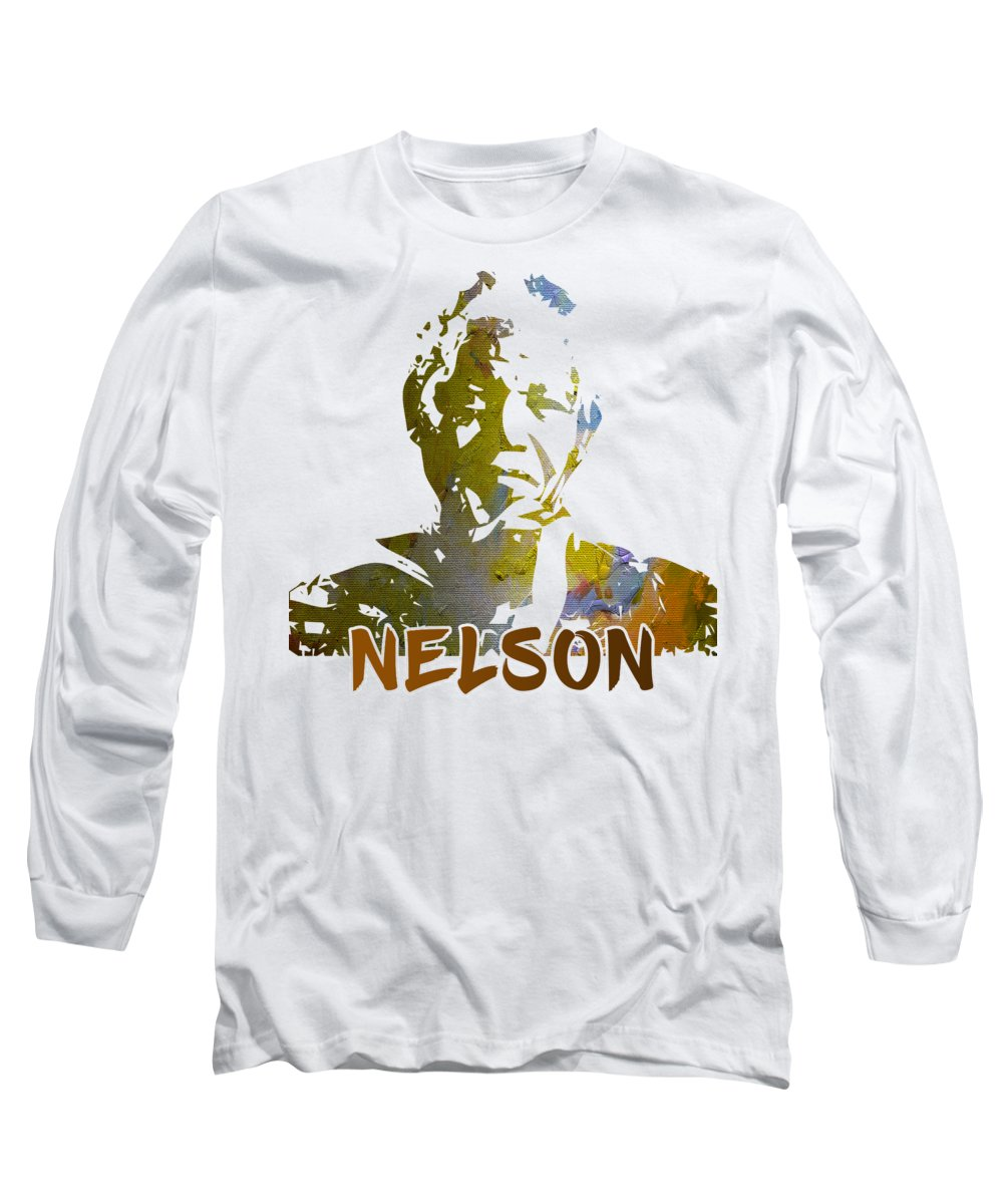 Oldman Long Sleeve T-Shirt featuring the painting Mandela Cut Out by Anthony Mwangi