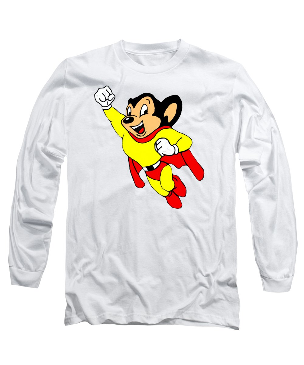 Mouse Long Sleeve T-Shirt featuring the mixed media Mighty Mouse Small But Mighty by Movie Poster Prints