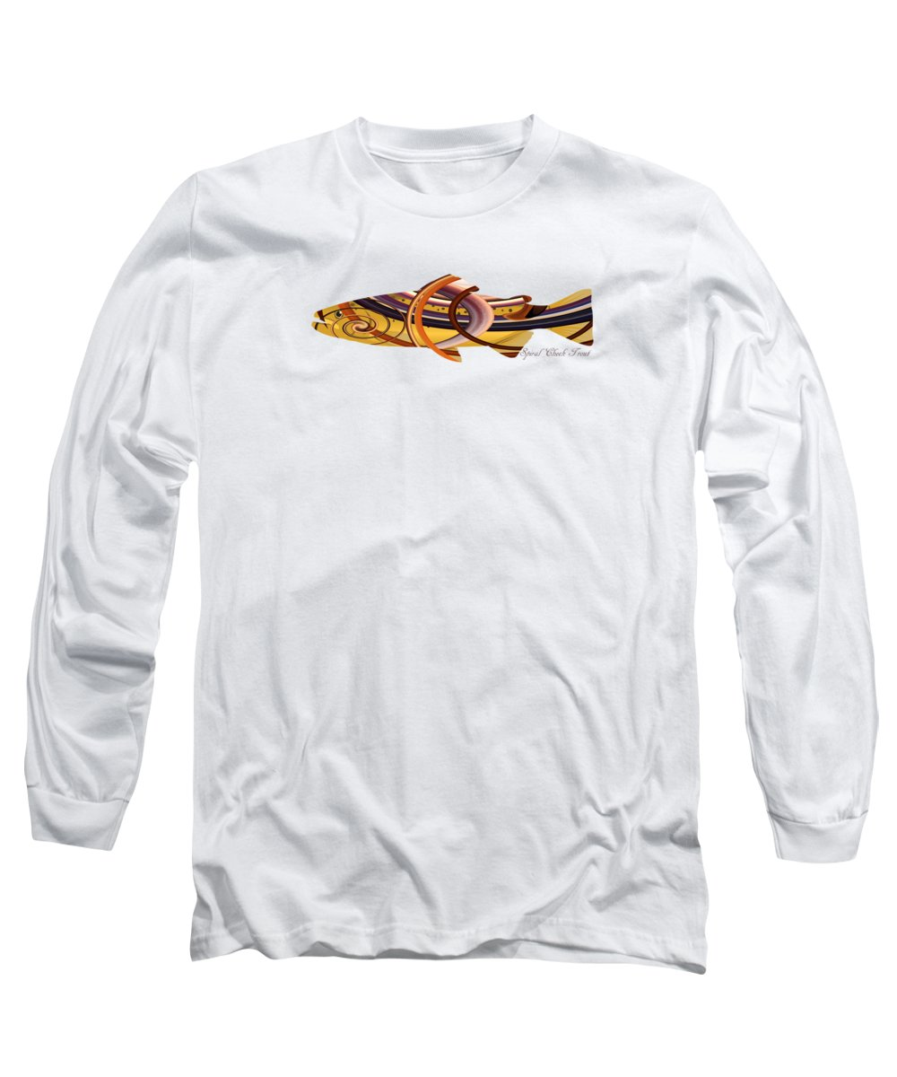 Mystic Long Sleeve T-Shirt featuring the digital art Mystic Trout- Spiral Cheek Trout by Whispering Peaks Photography