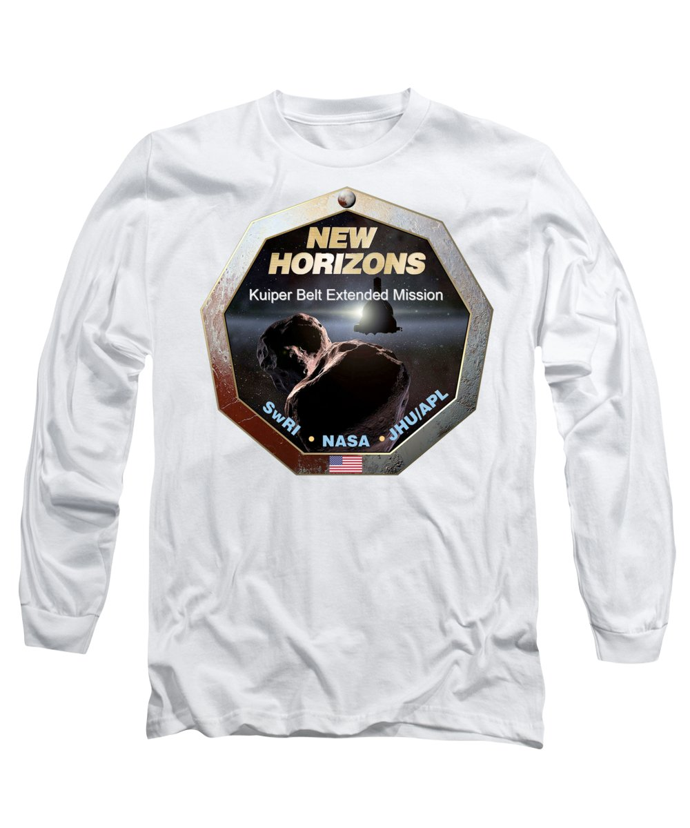Satellite Long Sleeve T-Shirt featuring the digital art New Horizons Extended Mission Logo by Nikki