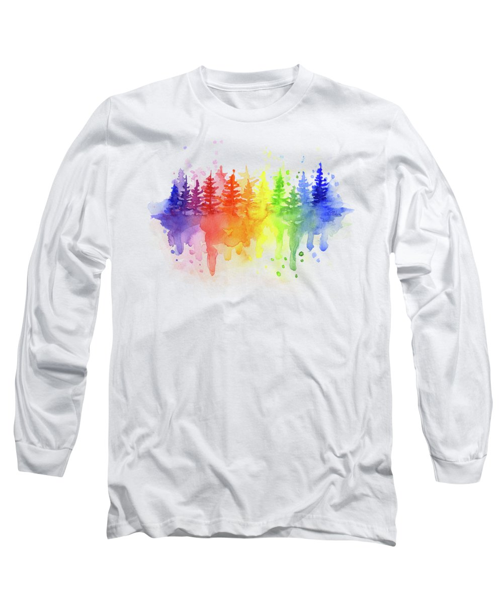 Forest Long Sleeve T-Shirt featuring the painting Rainbow Forest by Olga Shvartsur