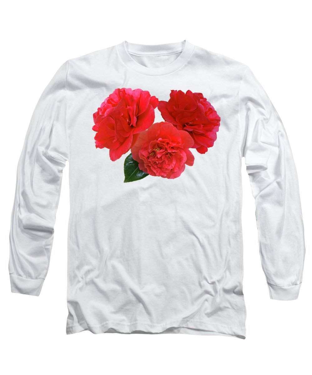 Red Flowers Long Sleeve T-Shirt featuring the photograph Red Camellias On White by Gill Billington