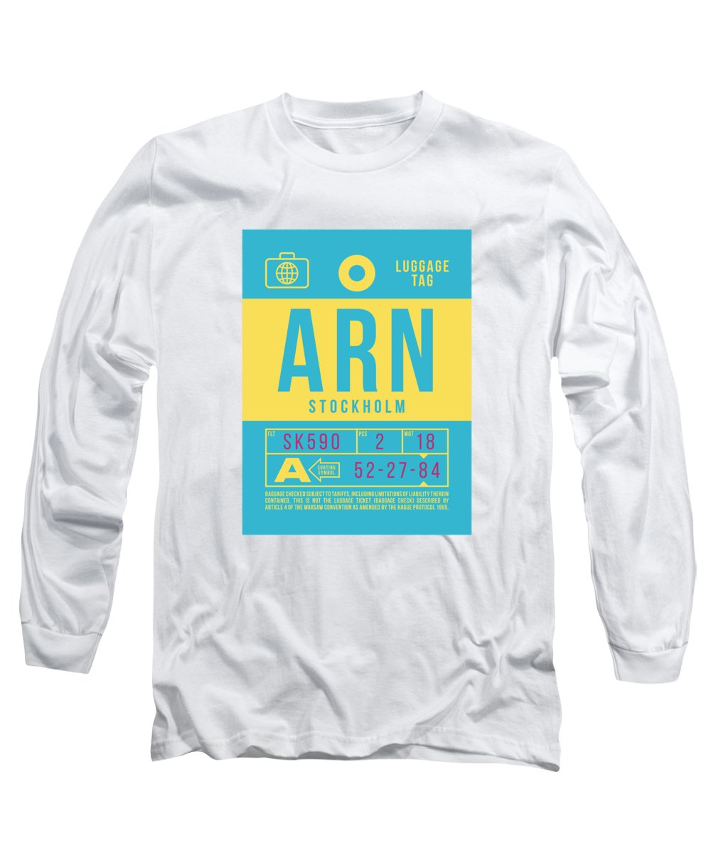 Airline Long Sleeve T-Shirt featuring the digital art Retro Airline Luggage Tag 2.0 - Arn Stockholm Sweden by Ivan Krpan