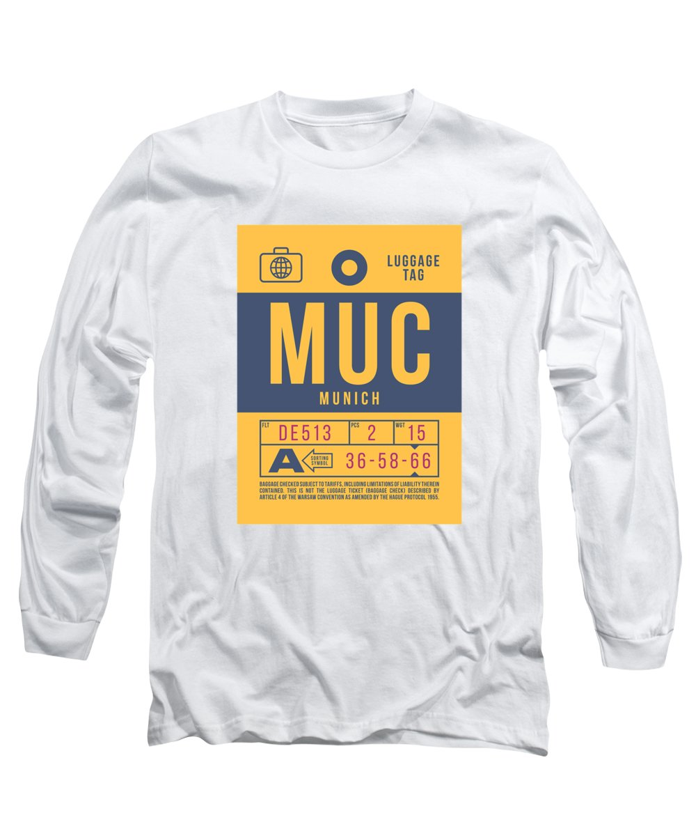 Airline Long Sleeve T-Shirt featuring the digital art Retro Airline Luggage Tag 2.0 - Muc Munich International Airport Germany by Ivan Krpan