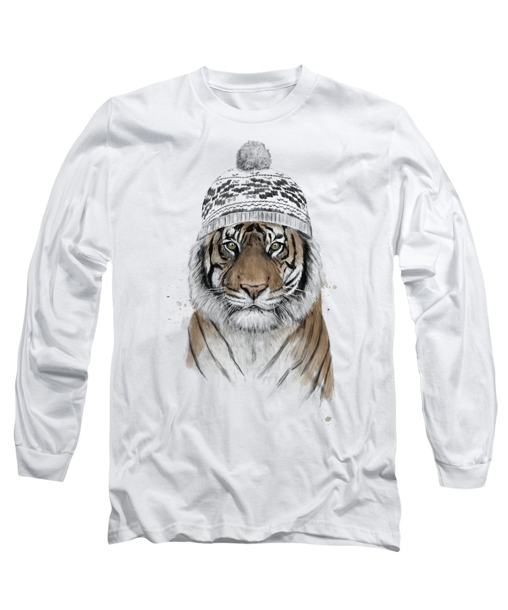Tiger Long Sleeve T-Shirt featuring the mixed media Siberian Tiger by Balazs Solti