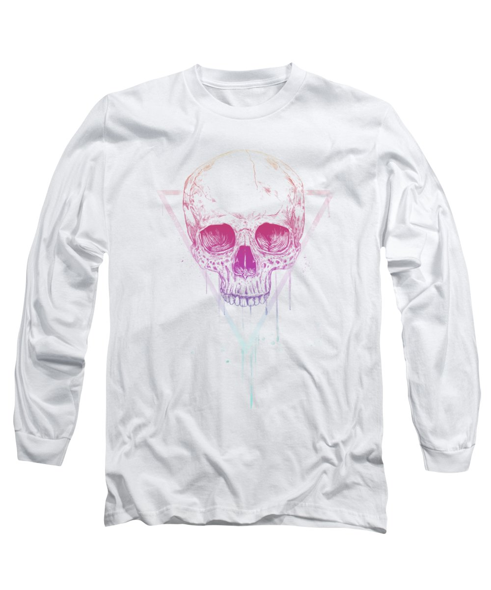 Skull Long Sleeve T-Shirt featuring the mixed media Skull In Triangle by Balazs Solti