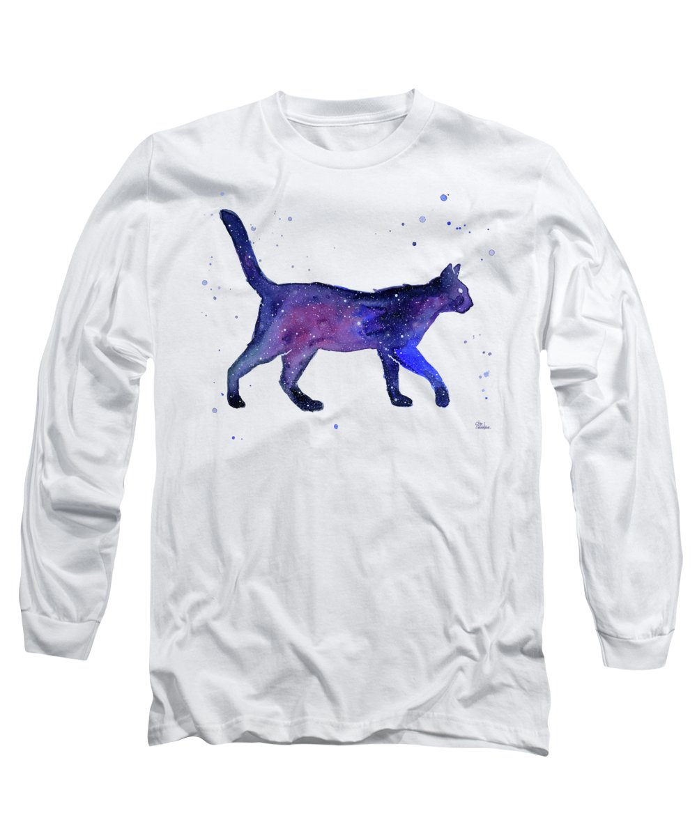 Space Long Sleeve T-Shirt featuring the painting Space Cat by Olga Shvartsur
