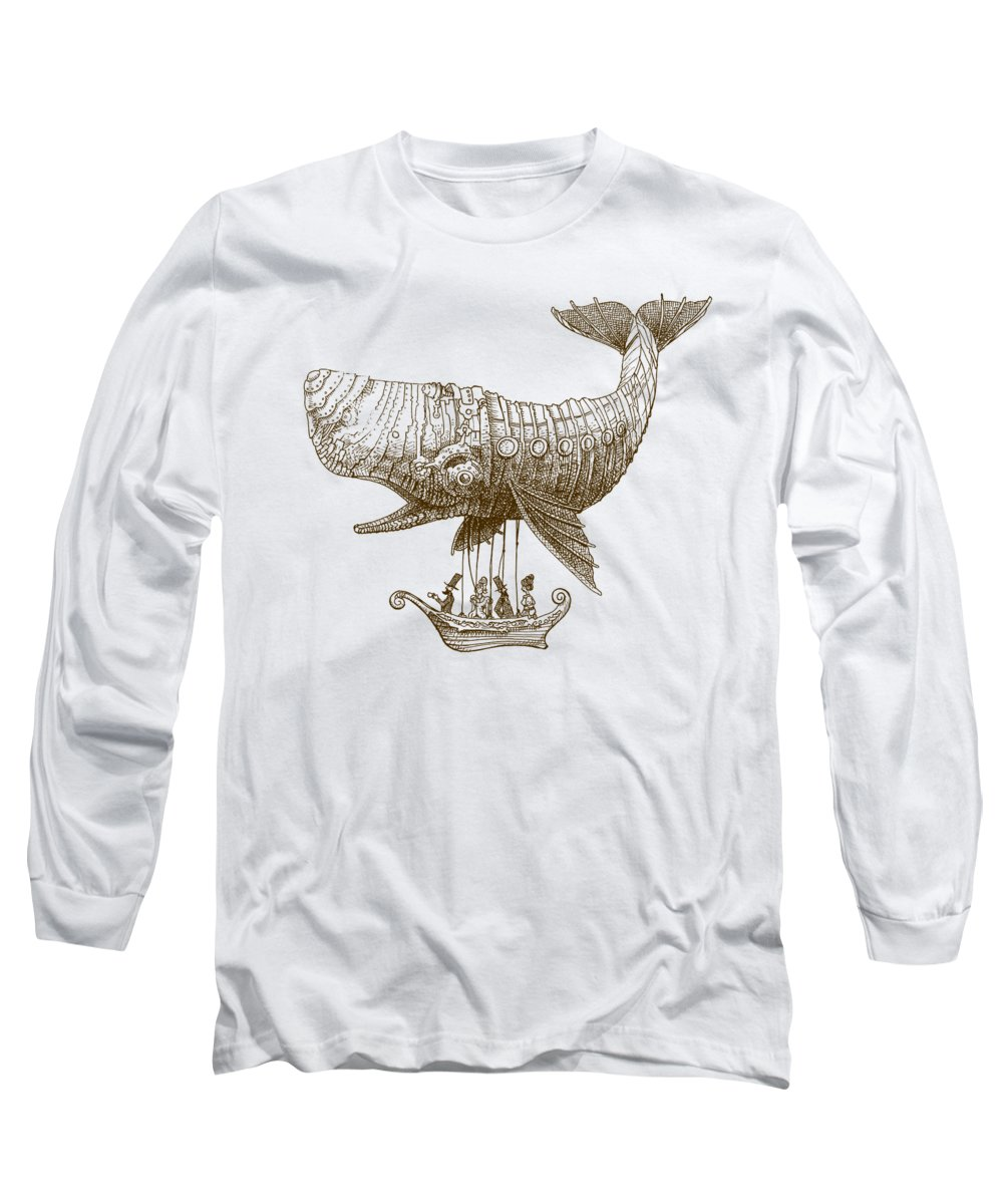 Whale Long Sleeve T-Shirt featuring the drawing Tea at Two Thousand Feet by Eric Fan