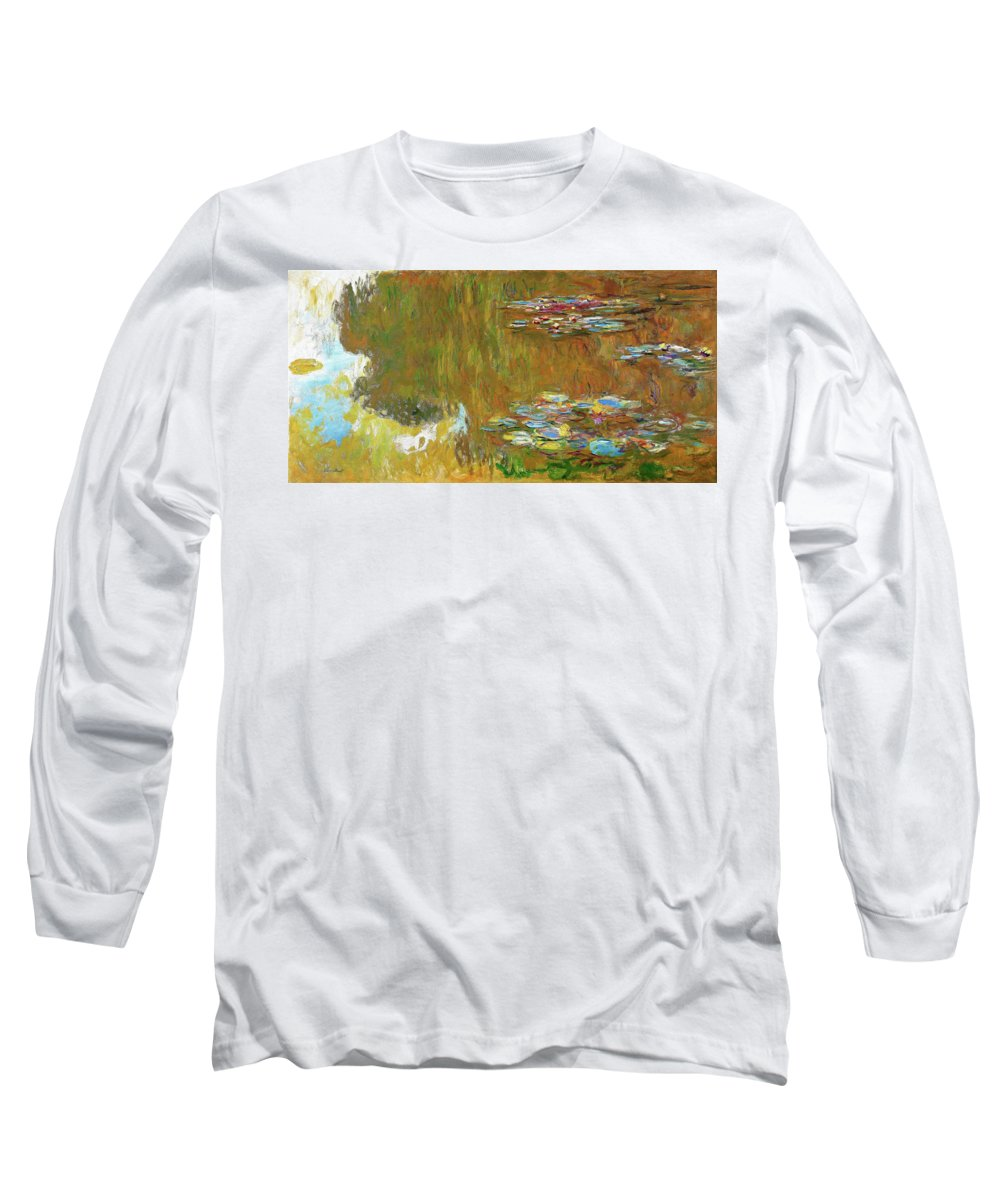 Claude Monet Long Sleeve T-Shirt featuring the painting The Water Lily Pond - Digital Remastered Edition by Claude Monet
