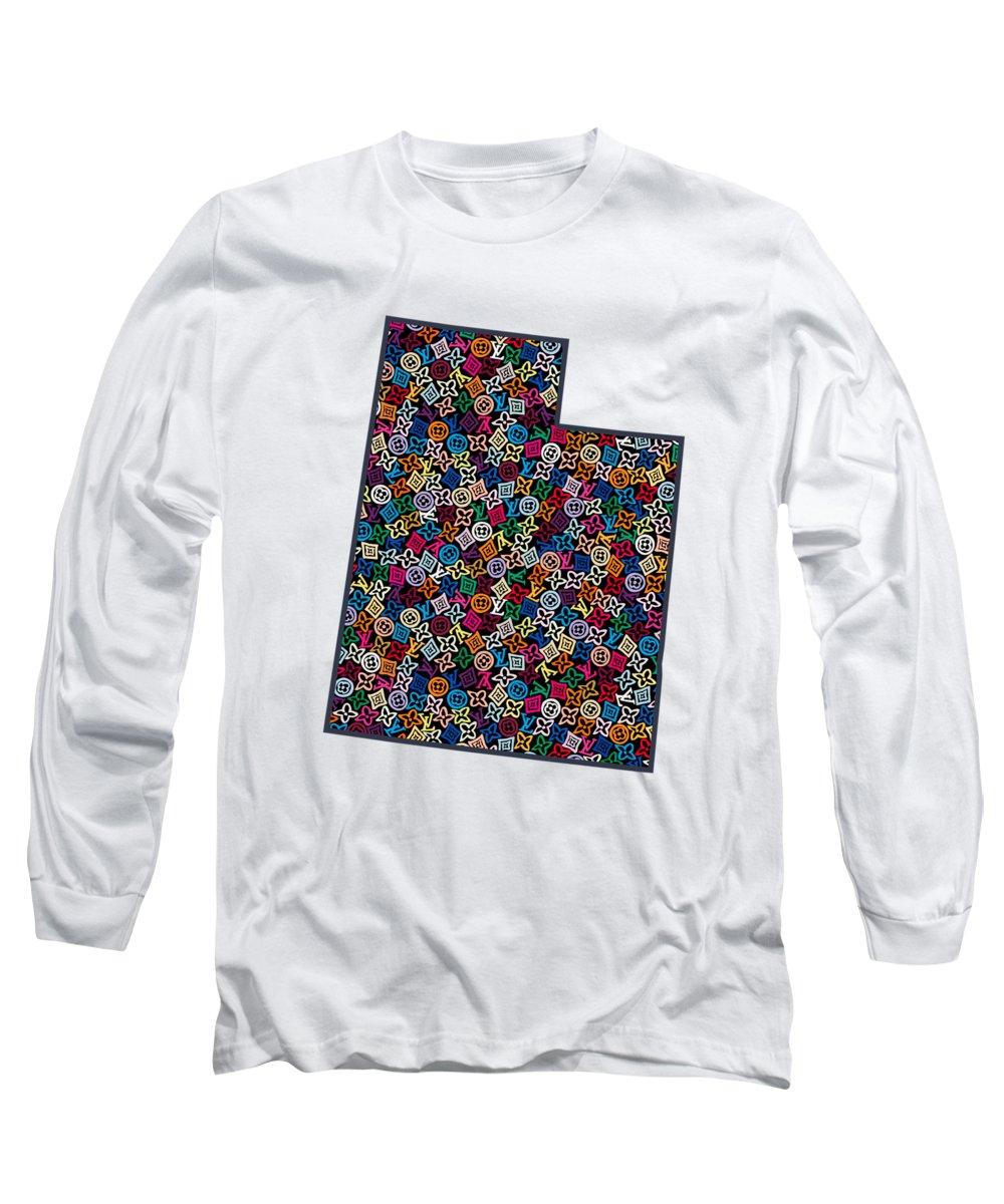 Salt Lake City Long Sleeve T-Shirt featuring the painting Utah Map - 1 by Nikita