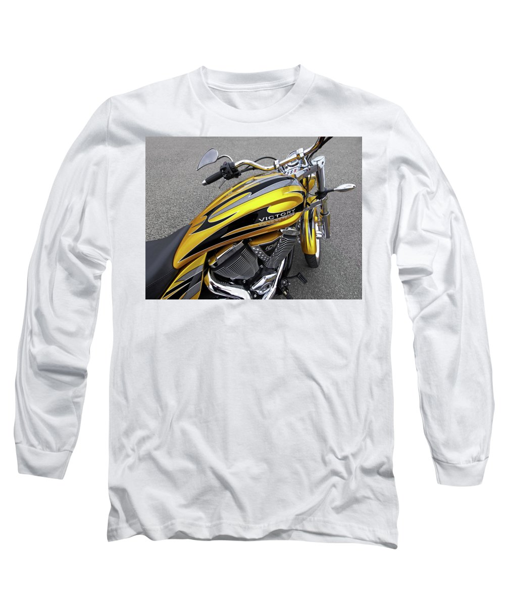 Motorcycle Long Sleeve T-Shirt featuring the photograph Victory Motorcycle 106 Gas Tank And V-twin Engine by Gill Billington